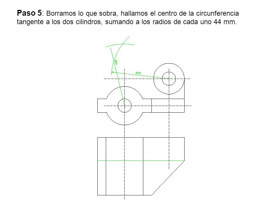 Paso 5: Borramos lo que sobra, hallamos el centro de la circunferencia tangente a los dos cilindros, sumando a los radios de cada uno 44 mm.