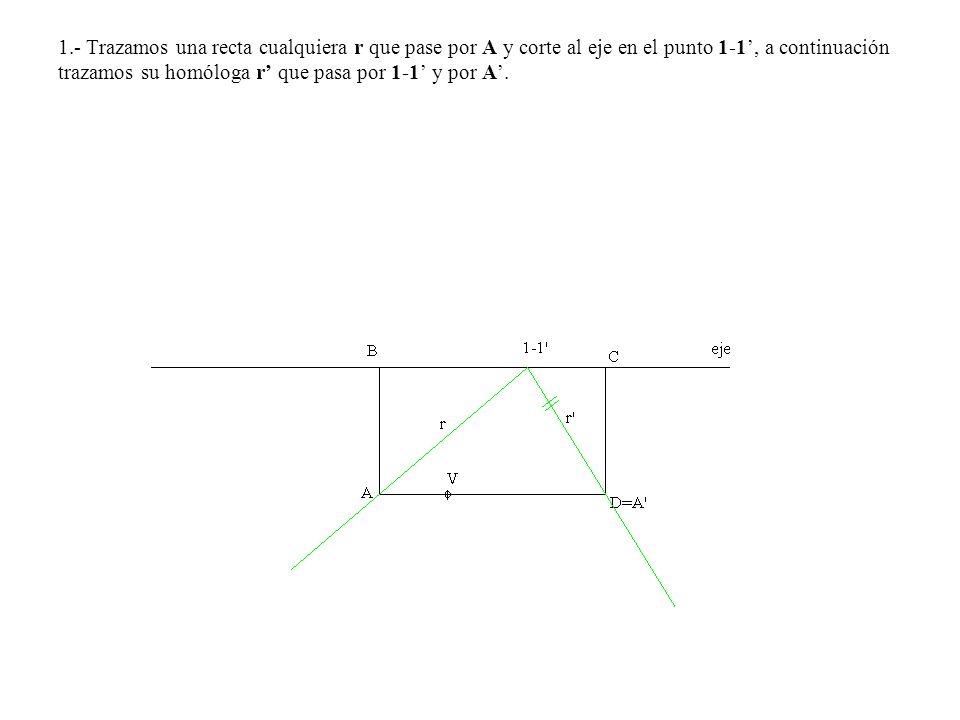 1.- Trazamos una recta cualquiera r que pase por A y corte al eje en el punto 1-1, a continuación trazamos su homóloga r que pasa por 1-1 y por A.