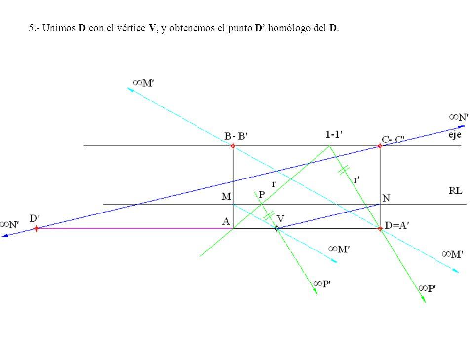 5.- Unimos D con el vértice V, y obtenemos el punto D homólogo del D.