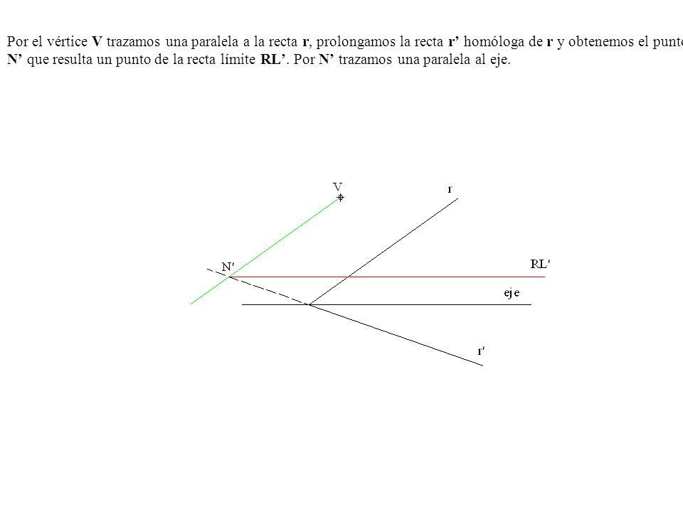 Por el vértice V trazamos una paralela a la recta r, prolongamos la recta r homóloga de r y obtenemos el punto N que resulta un punto de la recta lími