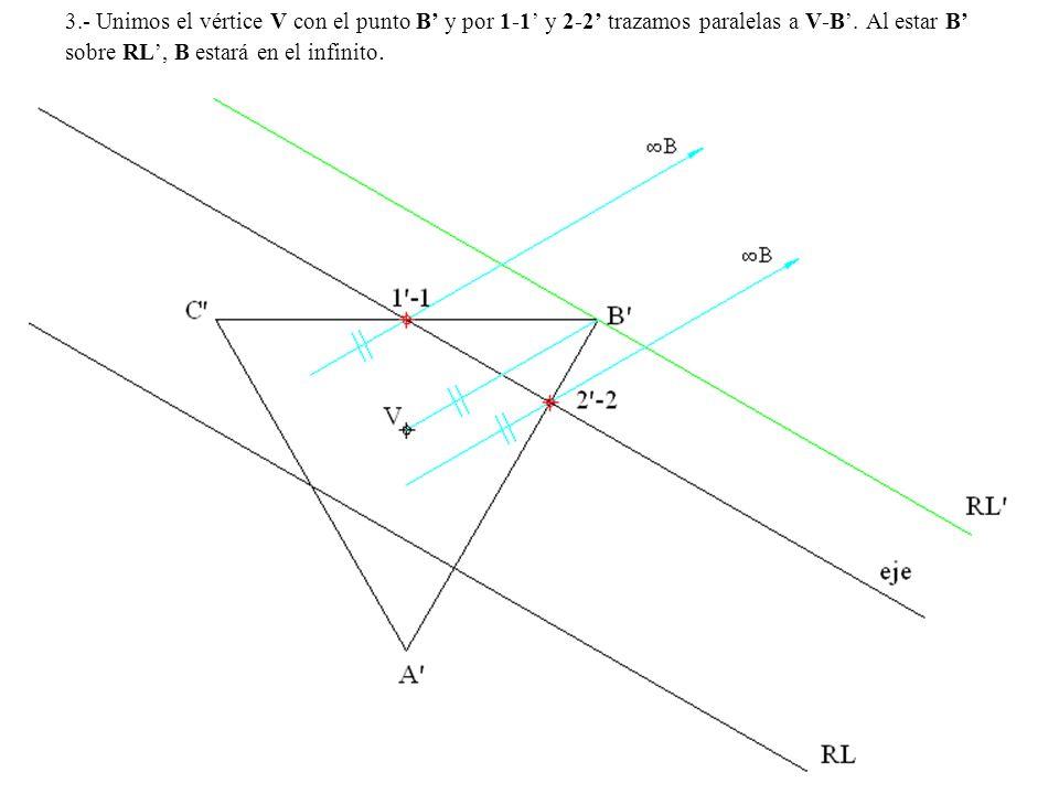 3.- Unimos el vértice V con el punto B y por 1-1 y 2-2 trazamos paralelas a V-B. Al estar B sobre RL, B estará en el infinito.
