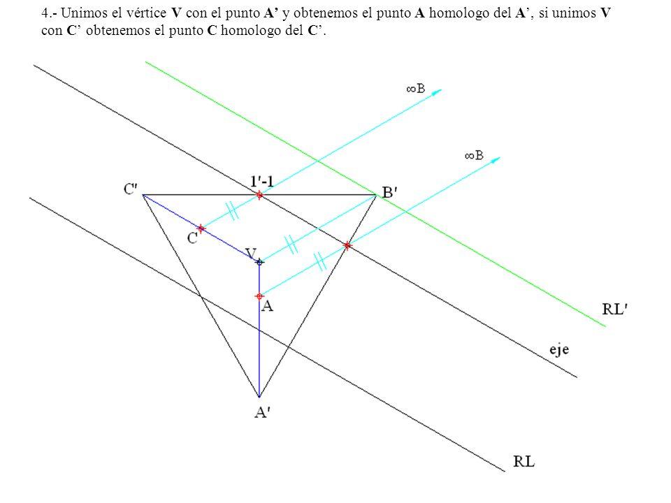 4.- Unimos el vértice V con el punto A y obtenemos el punto A homologo del A, si unimos V con C obtenemos el punto C homologo del C.