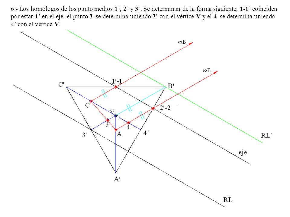6.- Los homólogos de los punto medios 1, 2 y 3. Se determinan de la forma siguiente, 1-1 coinciden por estar 1 en el eje, el punto 3 se determina unie