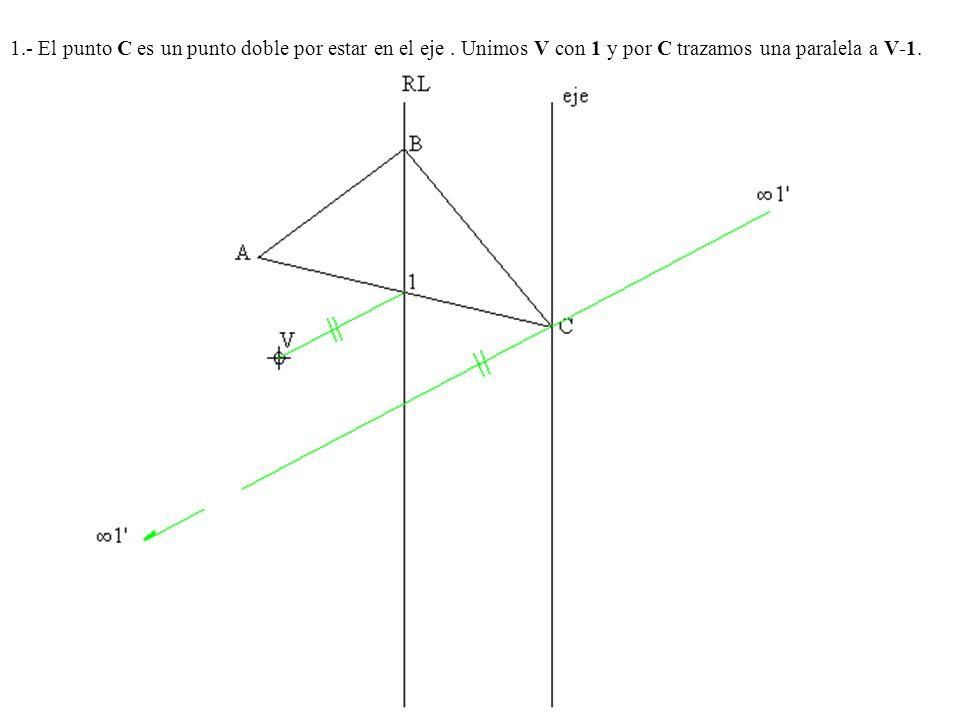 1.- El punto C es un punto doble por estar en el eje. Unimos V con 1 y por C trazamos una paralela a V-1.