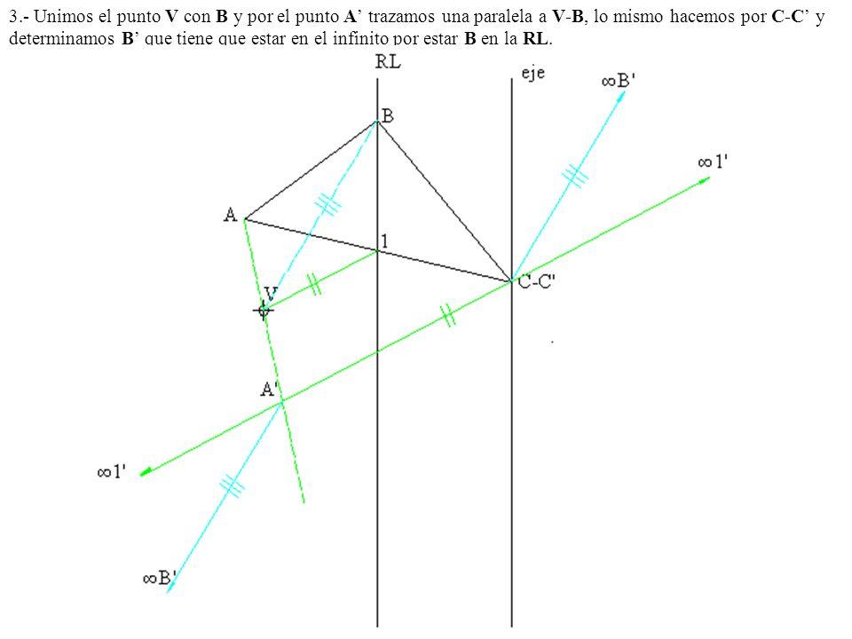 3.- Unimos el punto V con B y por el punto A trazamos una paralela a V-B, lo mismo hacemos por C-C y determinamos B que tiene que estar en el infinito
