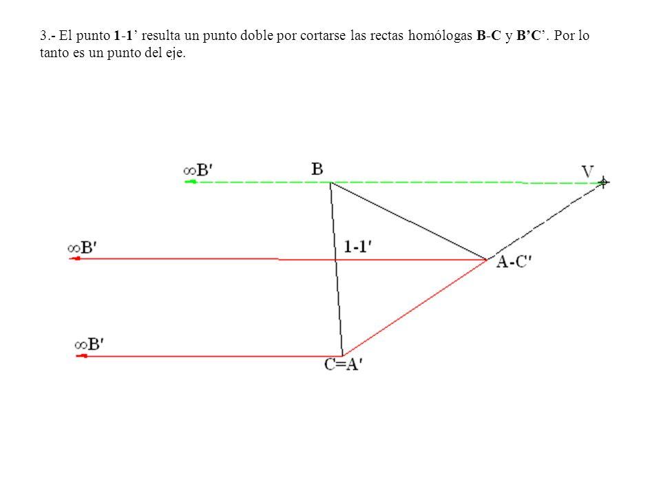 3.- El punto 1-1 resulta un punto doble por cortarse las rectas homólogas B-C y BC. Por lo tanto es un punto del eje.