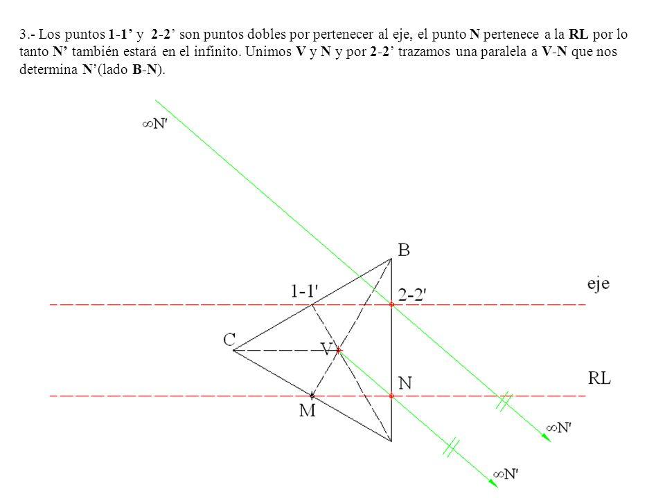 3.- Los puntos 1-1 y 2-2 son puntos dobles por pertenecer al eje, el punto N pertenece a la RL por lo tanto N también estará en el infinito. Unimos V