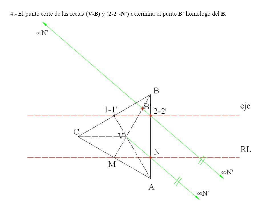 4.- El punto corte de las rectas (V-B) y (2-2-N) determina el punto B homólogo del B.