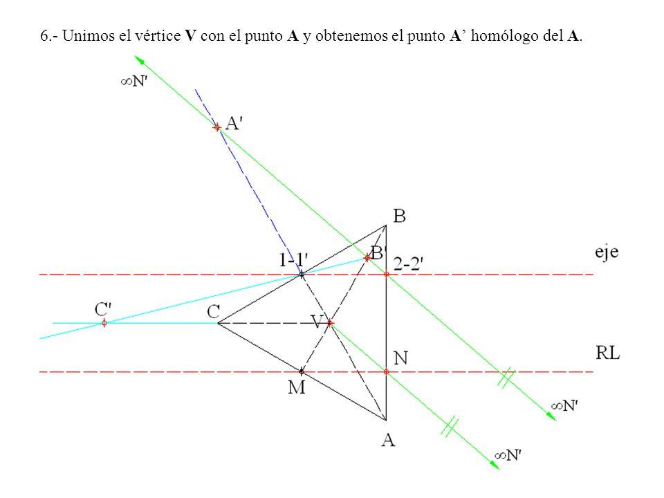 6.- Unimos el vértice V con el punto A y obtenemos el punto A homólogo del A.