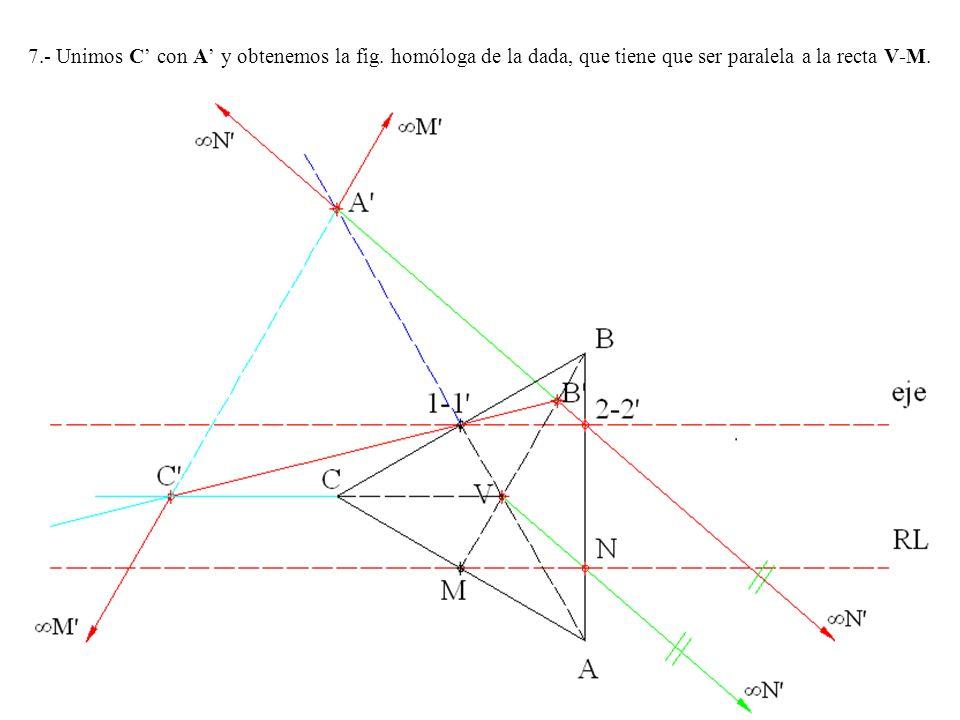 7.- Unimos C con A y obtenemos la fig. homóloga de la dada, que tiene que ser paralela a la recta V-M.