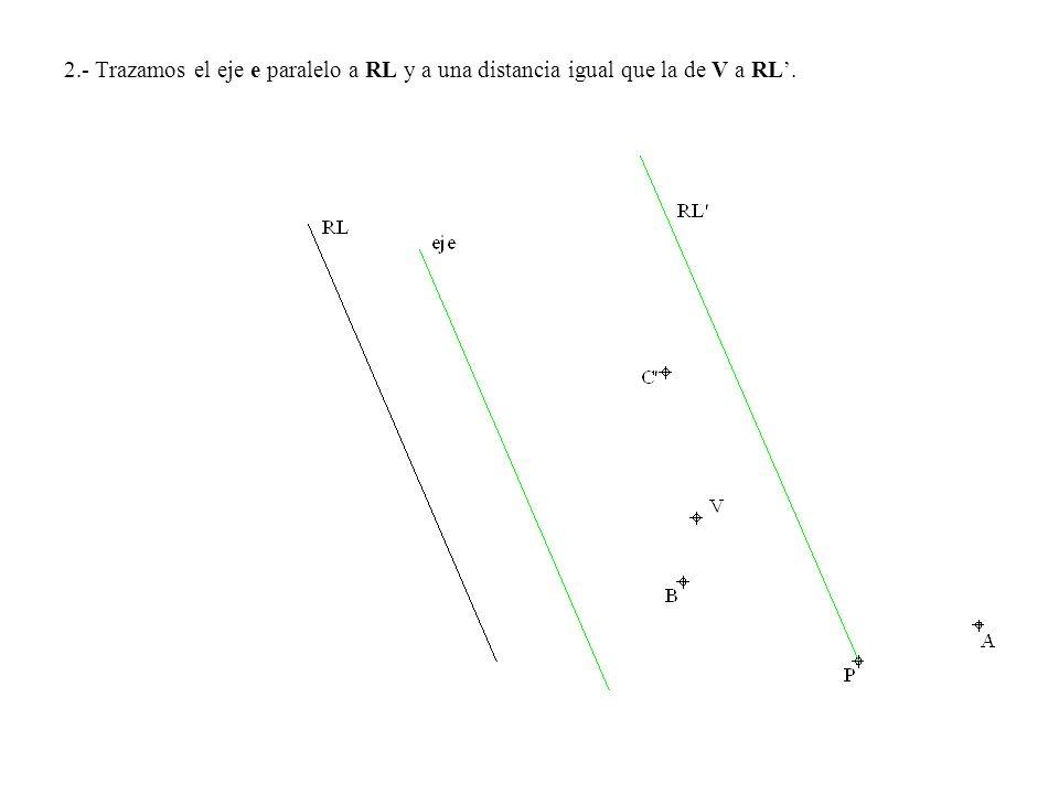 2.- Trazamos el eje e paralelo a RL y a una distancia igual que la de V a RL.