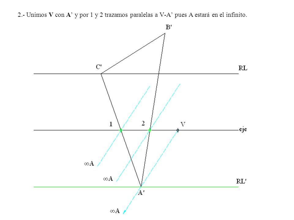 2.- Unimos V con A y por 1 y 2 trazamos paralelas a V-A pues A estará en el infinito.