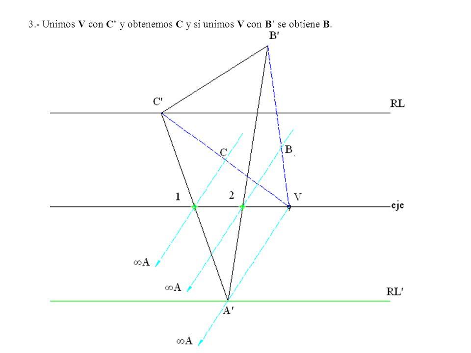 3.- Unimos V con C y obtenemos C y si unimos V con B se obtiene B.
