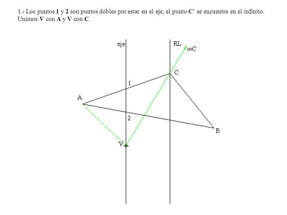 1.- Los puntos 1 y 2 son puntos dobles por estar en el eje, el punto C se encuentra en el infinito. Unimos V con A y V con C.