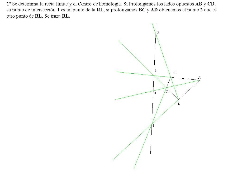 1º Se determina la recta límite y el Centro de homología. Si Prolongamos los lados opuestos AB y CD, su punto de intersección 1 es un punto de la RL,
