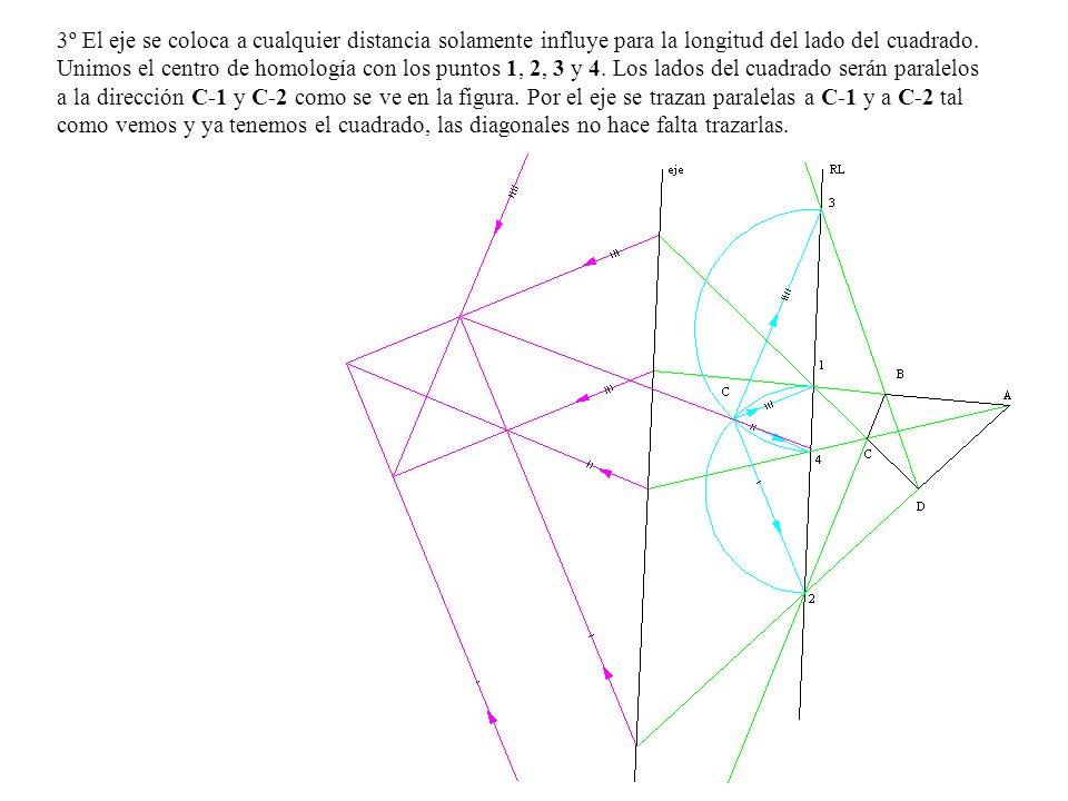 3º El eje se coloca a cualquier distancia solamente influye para la longitud del lado del cuadrado. Unimos el centro de homología con los puntos 1, 2,