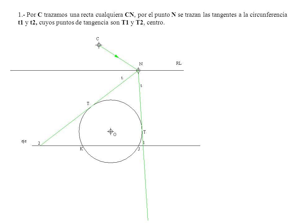1.- Por C trazamos una recta cualquiera CN, por el punto N se trazan las tangentes a la circunferencia t1 y t2, cuyos puntos de tangencia son T1 y T2,