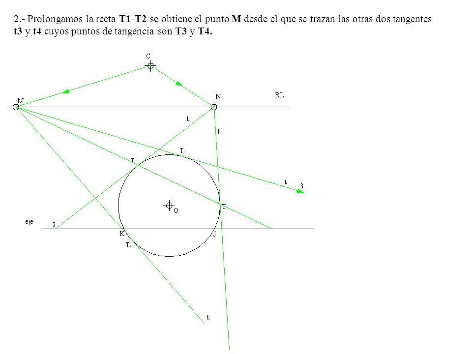2.- Prolongamos la recta T1-T2 se obtiene el punto M desde el que se trazan las otras dos tangentes t3 y t4 cuyos puntos de tangencia son T3 y T4.