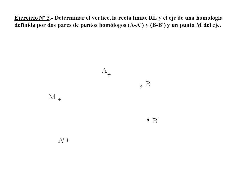 Ejercicio Nº 5.- Determinar el vértice, la recta límite RL y el eje de una homología definida por dos pares de puntos homólogos (A-A') y (B-B') y un p