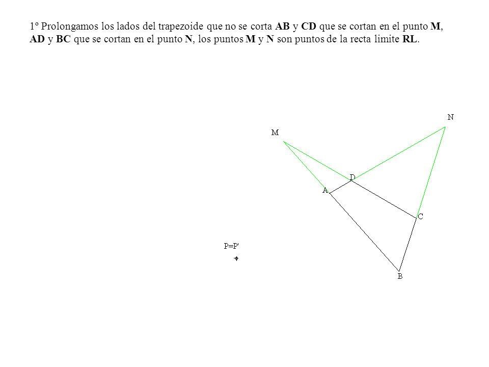1º Prolongamos los lados del trapezoide que no se corta AB y CD que se cortan en el punto M, AD y BC que se cortan en el punto N, los puntos M y N son
