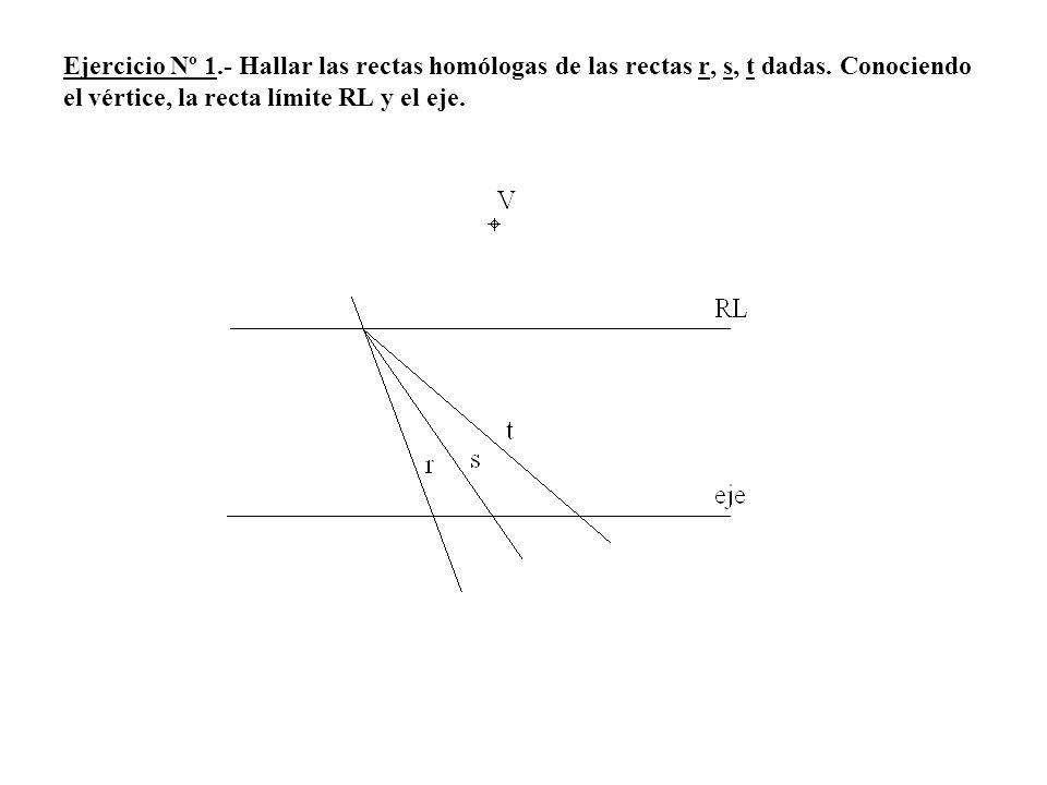 Ejercicio Nº 1.- Hallar las rectas homólogas de las rectas r, s, t dadas. Conociendo el vértice, la recta límite RL y el eje.