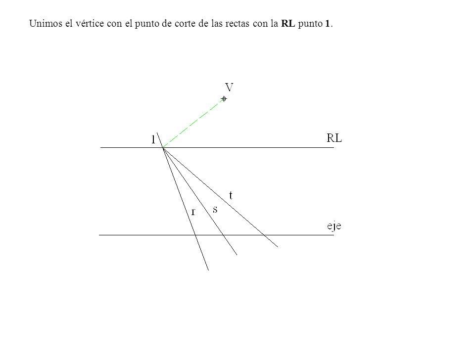 2.- Por el punto 1 trazamos una paralela a V-C que corta a la recta V-A en el punto A homólogo del A.