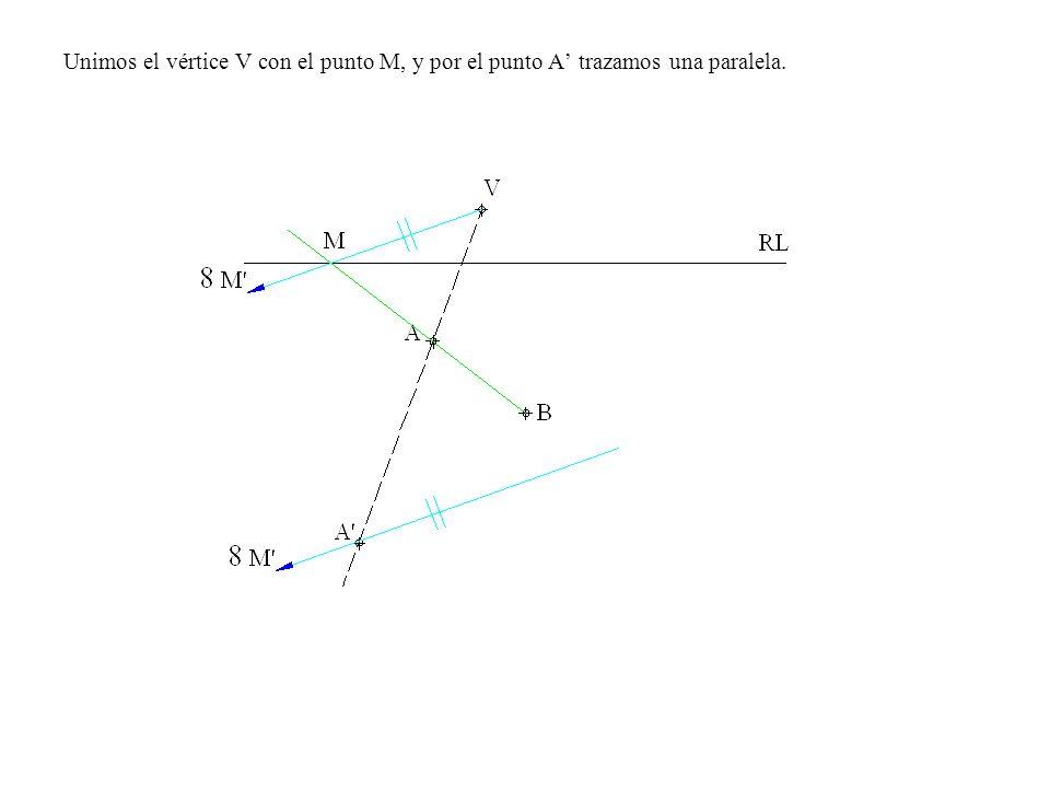 Unimos el vértice V con el punto M, y por el punto A trazamos una paralela.