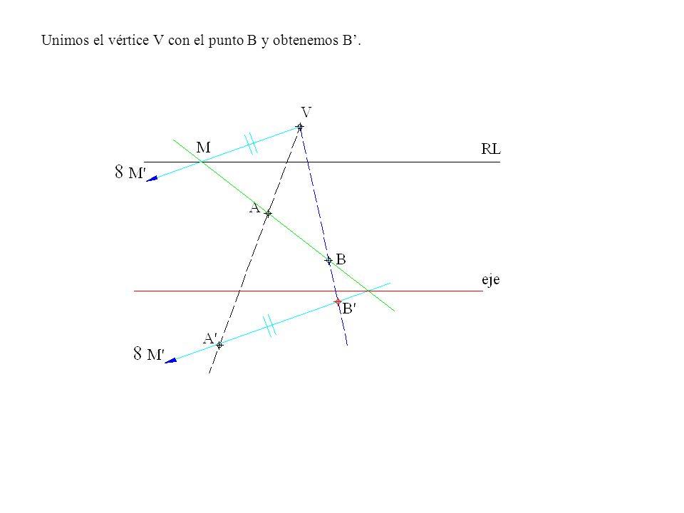 Unimos el vértice V con el punto B y obtenemos B.