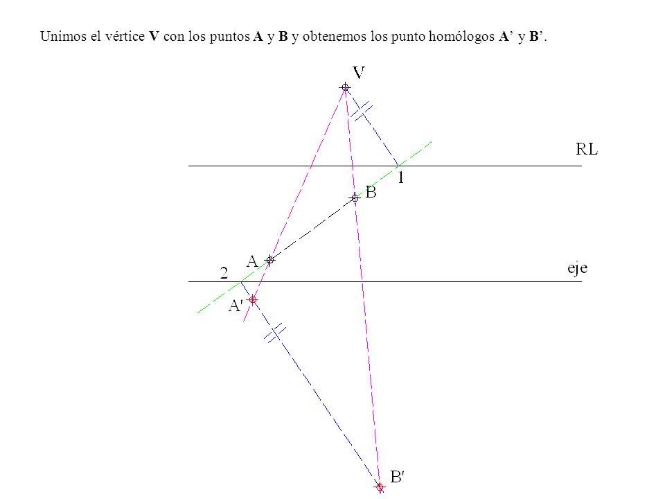Unimos el vértice V con los puntos A y B y obtenemos los punto homólogos A y B.