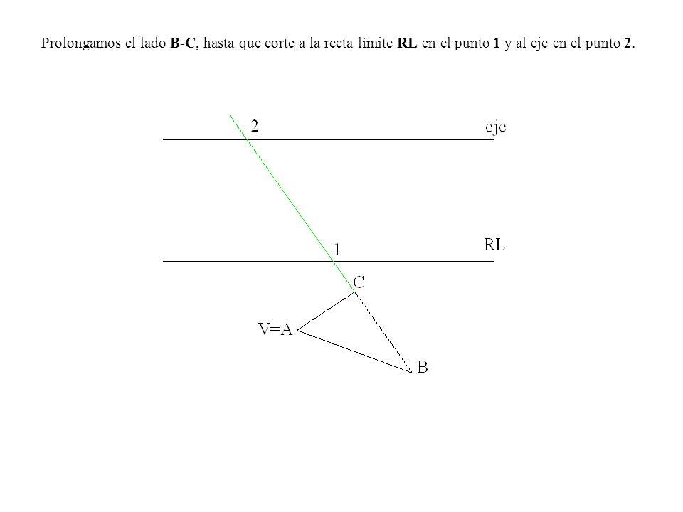 Prolongamos el lado B-C, hasta que corte a la recta límite RL en el punto 1 y al eje en el punto 2.