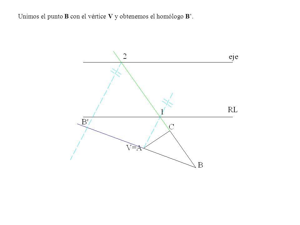 Unimos el punto B con el vértice V y obtenemos el homólogo B.