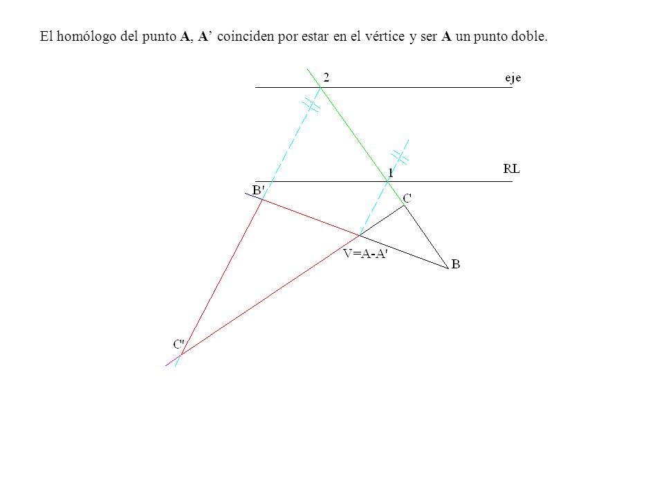El homólogo del punto A, A coinciden por estar en el vértice y ser A un punto doble.