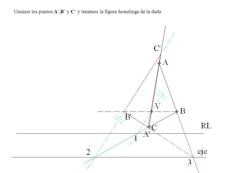 Unimos los puntos A,B y C y tenemos la figura homóloga de la dada.