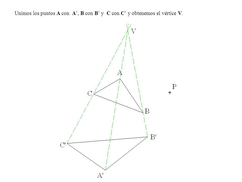 Unimos los puntos A con A, B con B y C con C y obtenemos el vértice V.