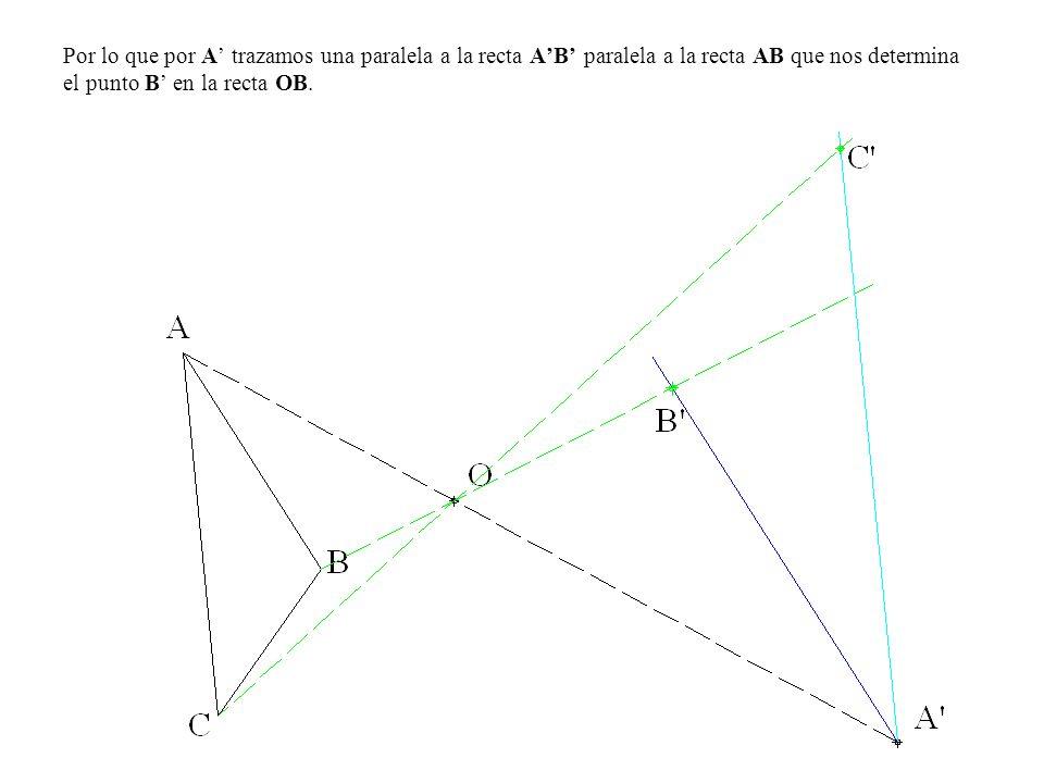 Por lo que por A trazamos una paralela a la recta AB paralela a la recta AB que nos determina el punto B en la recta OB.