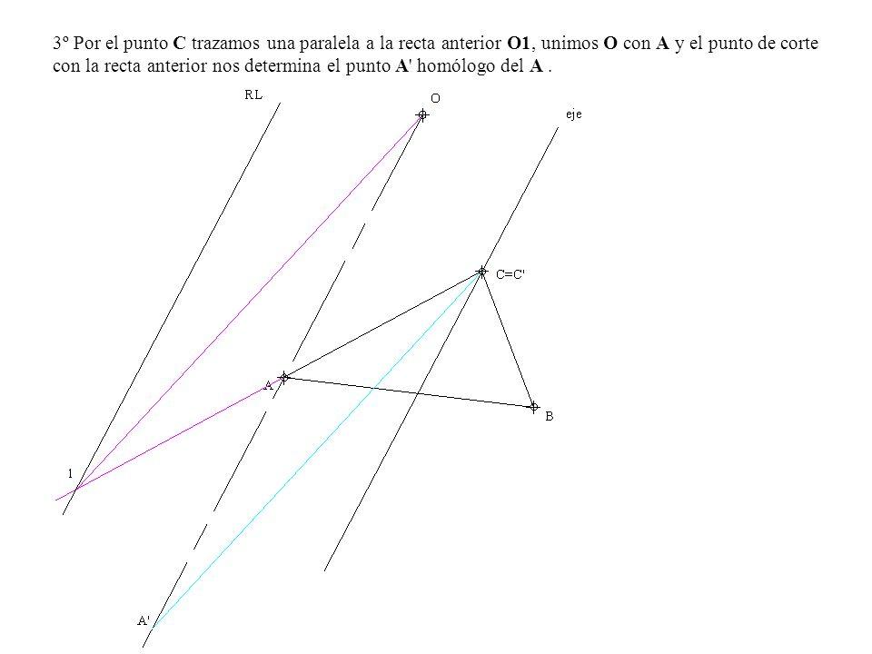 3º Por el punto C trazamos una paralela a la recta anterior O1, unimos O con A y el punto de corte con la recta anterior nos determina el punto A' hom