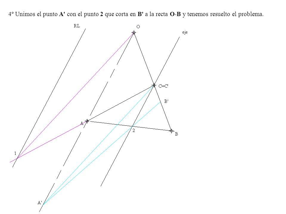 4º Unimos el punto A' con el punto 2 que corta en B' a la recta O-B y tenemos resuelto el problema.