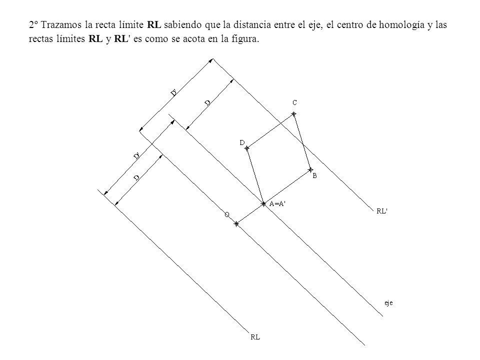 2º Trazamos la recta límite RL sabiendo que la distancia entre el eje, el centro de homología y las rectas límites RL y RL' es como se acota en la fig