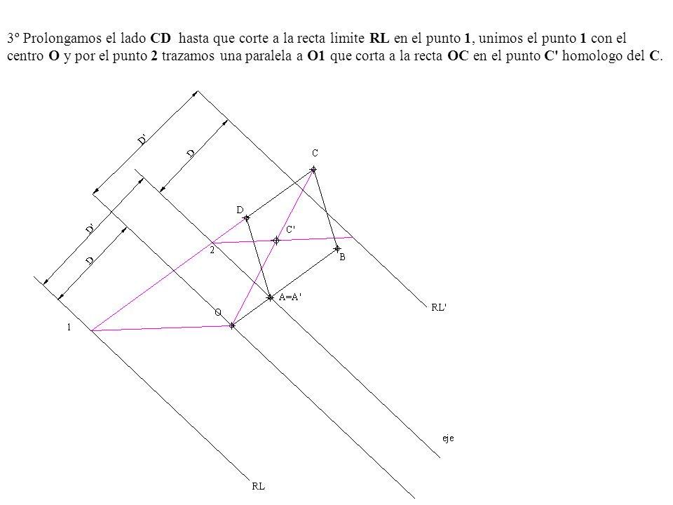 3º Prolongamos el lado CD hasta que corte a la recta limite RL en el punto 1, unimos el punto 1 con el centro O y por el punto 2 trazamos una paralela