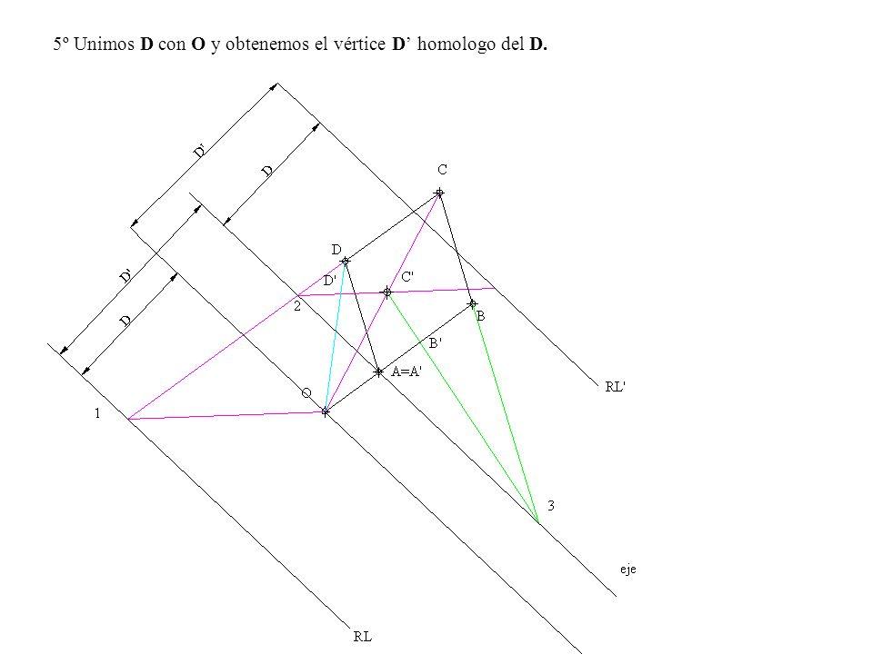 5º Unimos D con O y obtenemos el vértice D homologo del D.