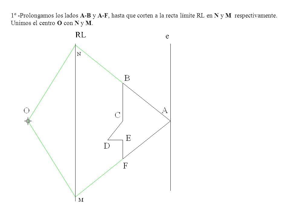 1º -Prolongamos los lados A-B y A-F, hasta que corten a la recta límite RL en N y M respectivamente. Unimos el centro O con N y M.