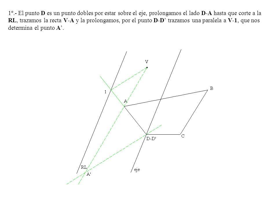 1º.- El punto D es un punto dobles por estar sobre el eje, prolongamos el lado D-A hasta que corte a la RL, trazamos la recta V-A y la prolongamos, po