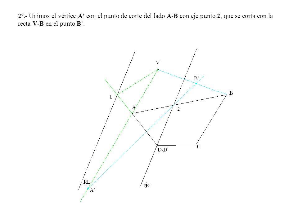 2º.- Unimos el vértice A con el punto de corte del lado A-B con eje punto 2, que se corta con la recta V-B en el punto B.