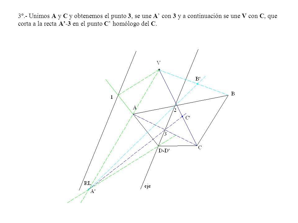 3º.- Unimos A y C y obtenemos el punto 3, se une A con 3 y a continuación se une V con C, que corta a la recta A-3 en el punto C homólogo del C.