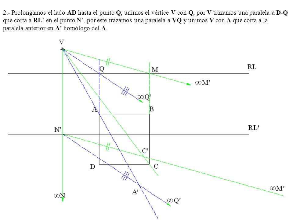 2.- Prolongamos el lado AD hasta el punto Q, unimos el vértice V con Q, por V trazamos una paralela a D-Q que corta a RL en el punto N, por este traza