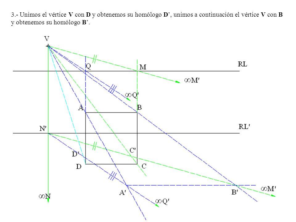 3.- Unimos el vértice V con D y obtenemos su homólogo D, unimos a continuación el vértice V con B y obtenemos su homólogo B.
