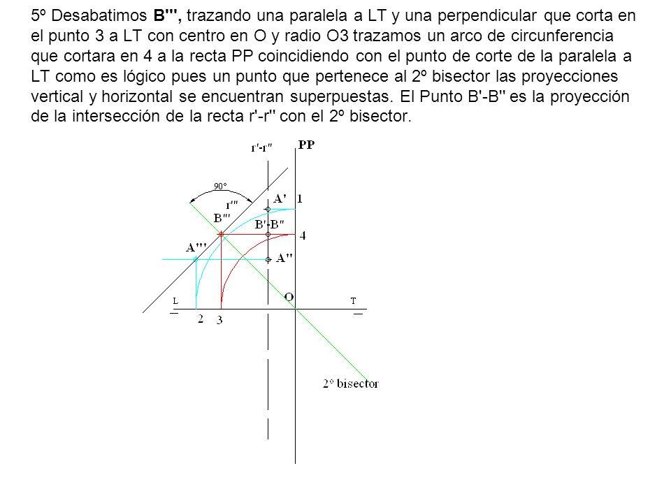 5º Desabatimos B''', trazando una paralela a LT y una perpendicular que corta en el punto 3 a LT con centro en O y radio O3 trazamos un arco de circun