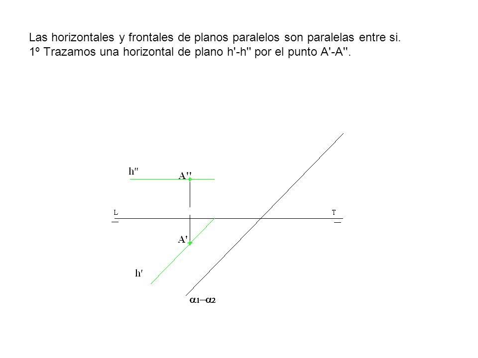 Las horizontales y frontales de planos paralelos son paralelas entre si. 1º Trazamos una horizontal de plano h'-h'' por el punto A'-A''.