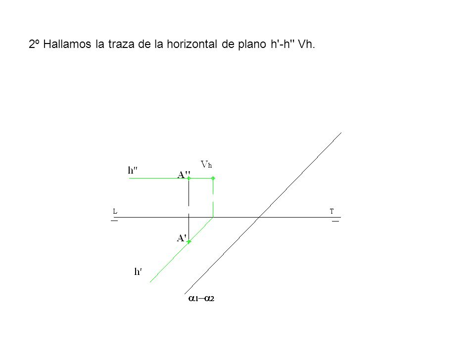 2º Hallamos la traza de la horizontal de plano h'-h'' Vh.