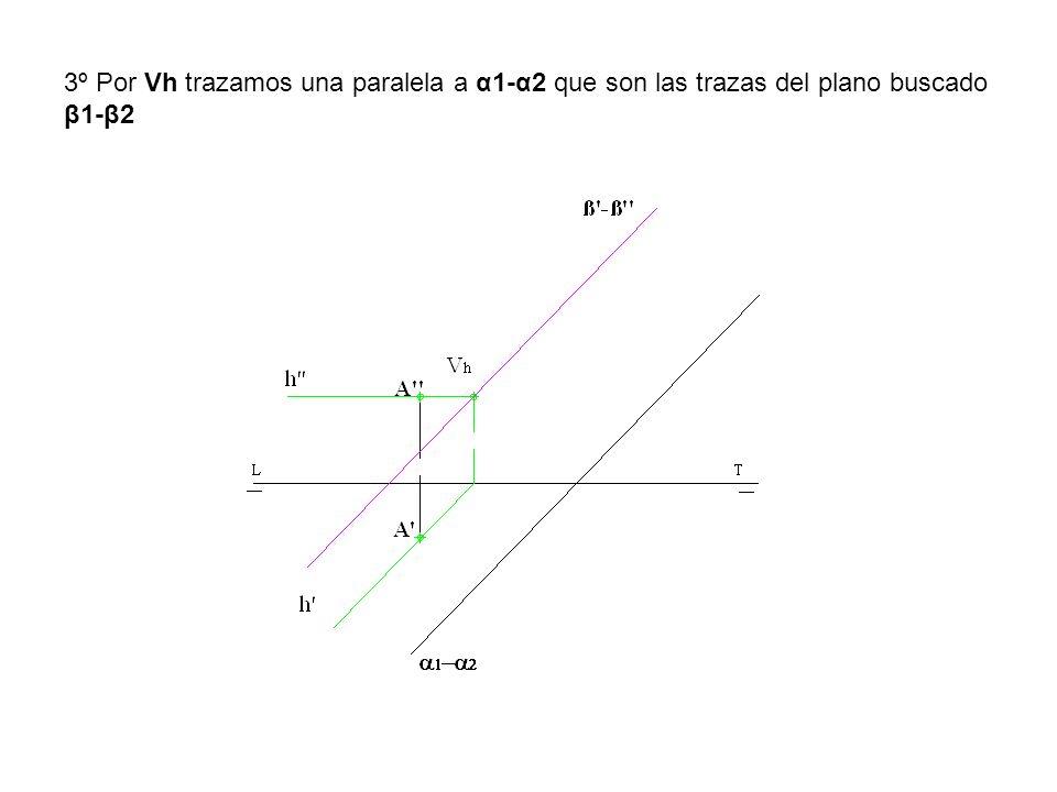 3º Por Vh trazamos una paralela a α1-α2 que son las trazas del plano buscado β1-β2